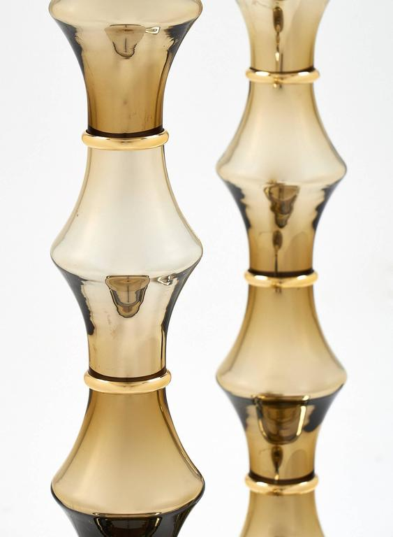 Pair of Mirrored Murano Glass Gold Lamps In Excellent Condition For Sale In Austin, TX