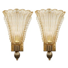 Pair of Murano Glass Vintage Sconces by Seguso