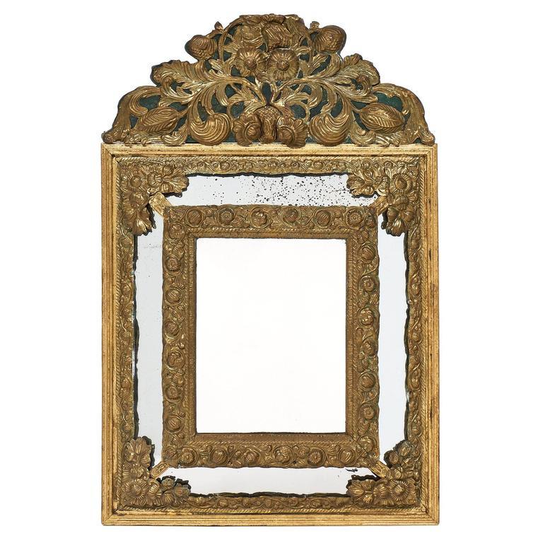 Brass Embossed Napoleon III Period Mirror