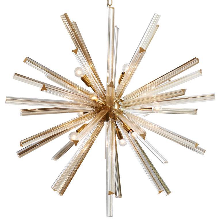 Gold Italian Murano Glass Sputnik Chandelier