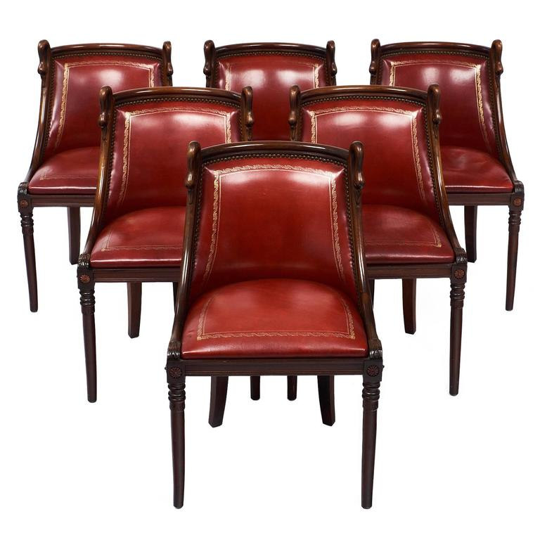 Set Of Empire Style French Barrel Swan Chairs For Sale