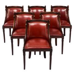 Set Of Empire Style French Barrel Swan Chairs