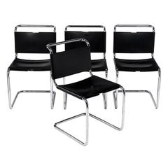 Marcel Breuer Black Leather Chairs