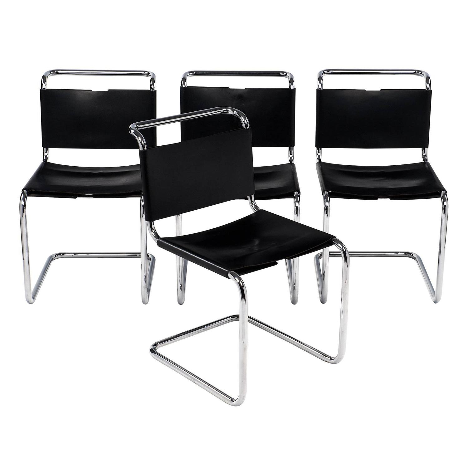 Marcel Breuer Black Leather Chairs For Sale at 1stdibs