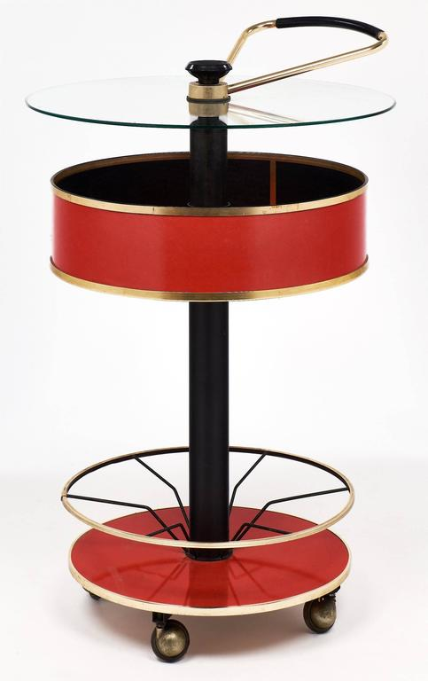 Lacquered Modernist Italian Bar Cart For Sale