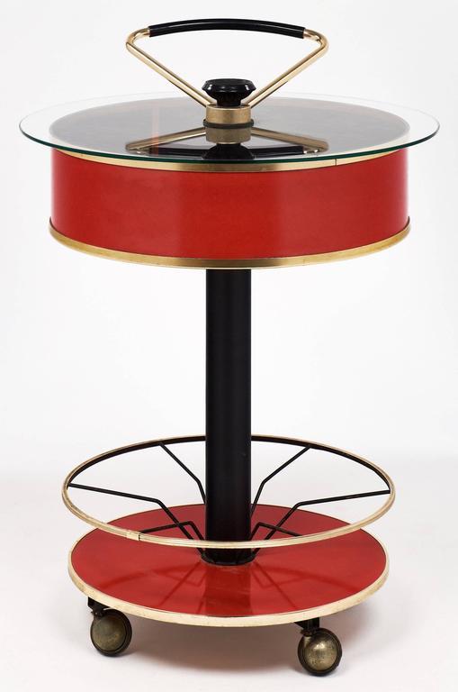 Mid-20th Century Modernist Italian Bar Cart For Sale