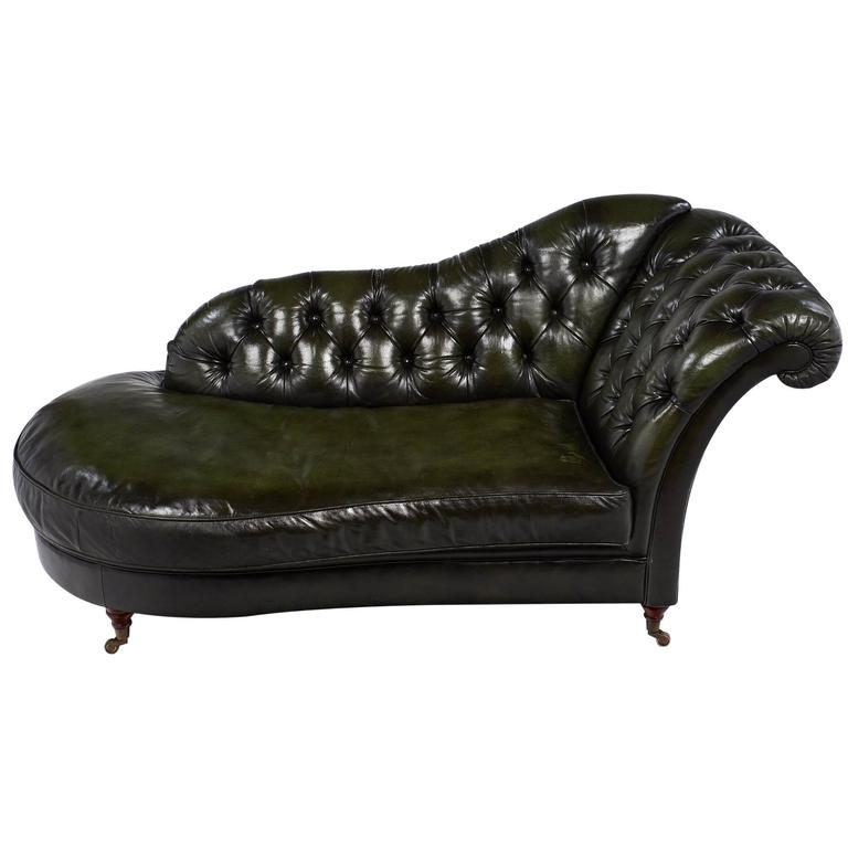 green vintage tufted leather m ridienne for sale at 1stdibs. Black Bedroom Furniture Sets. Home Design Ideas