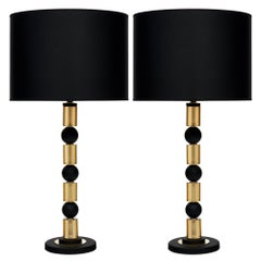 Murano Black and Amber Glass Table Lamps