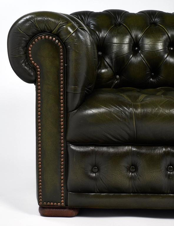Green Leather Vintage Chesterfield Sofa For Sale At 1stdibs