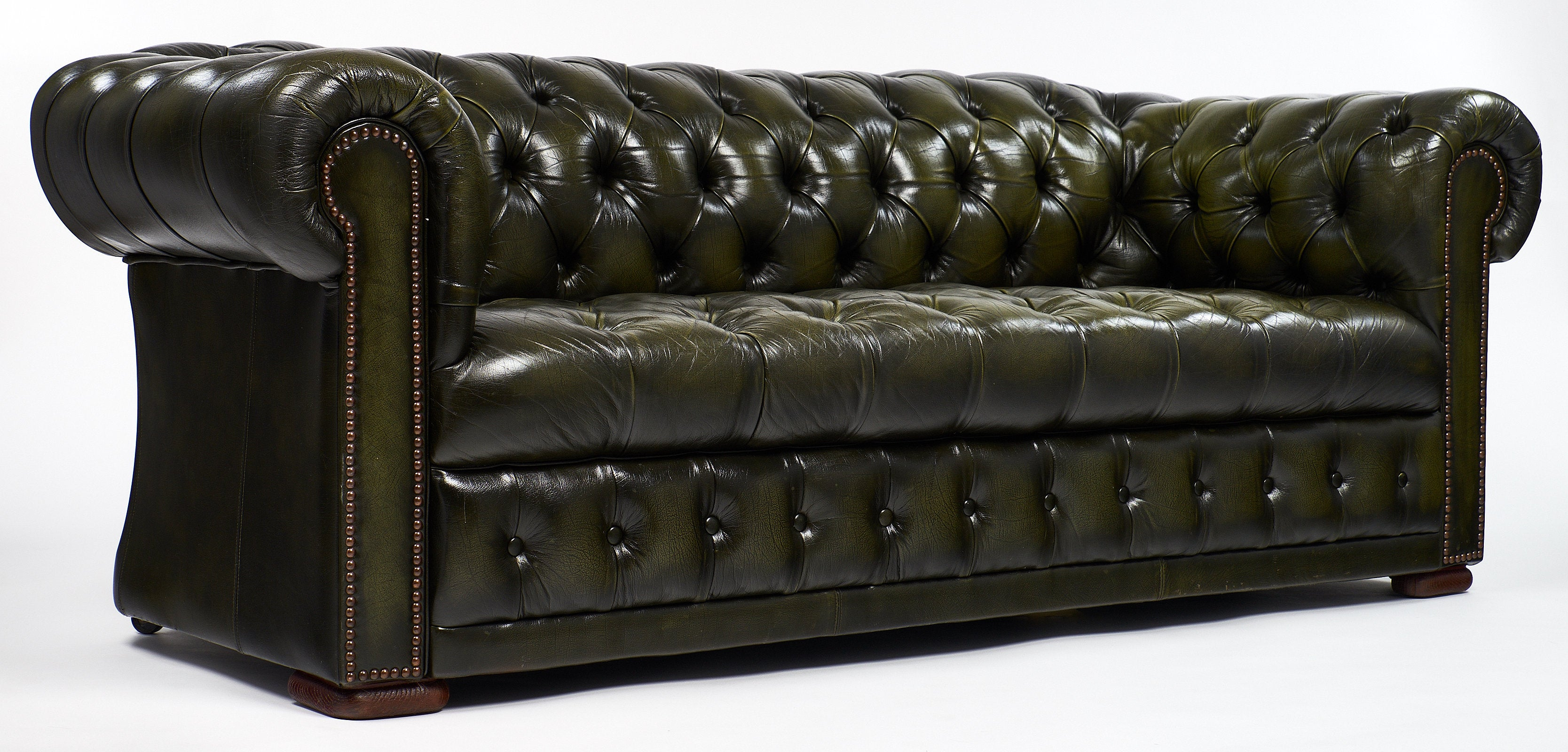 Green Leather Vintage Chesterfield Sofa