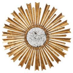 Spanish Mid-Century Modern Style Sunburst Mirror