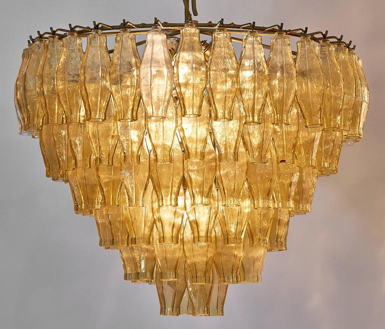 Italian Murano Glass Vintage Chandelier in the Style of Venini For Sale