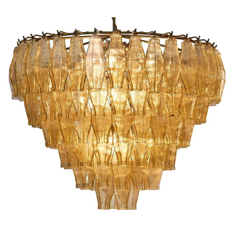 Murano Glass Vintage Chandelier in the Style of Venini For Sale