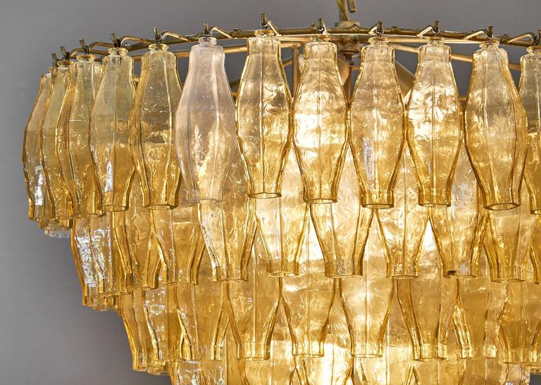 Murano Glass Vintage Chandelier in the Style of Venini In Excellent Condition For Sale In Austin, TX