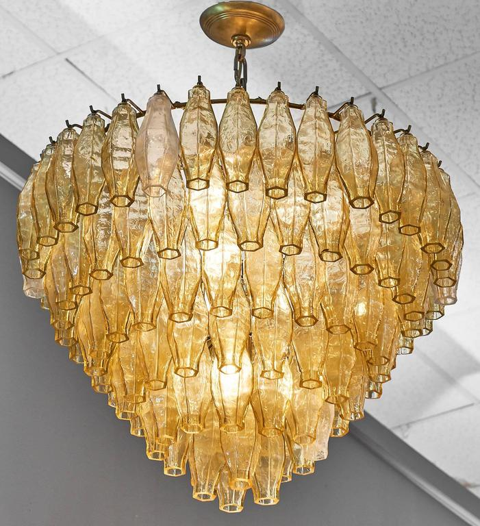 Mid-Century Modern Murano Glass Vintage Chandelier in the Style of Venini For Sale