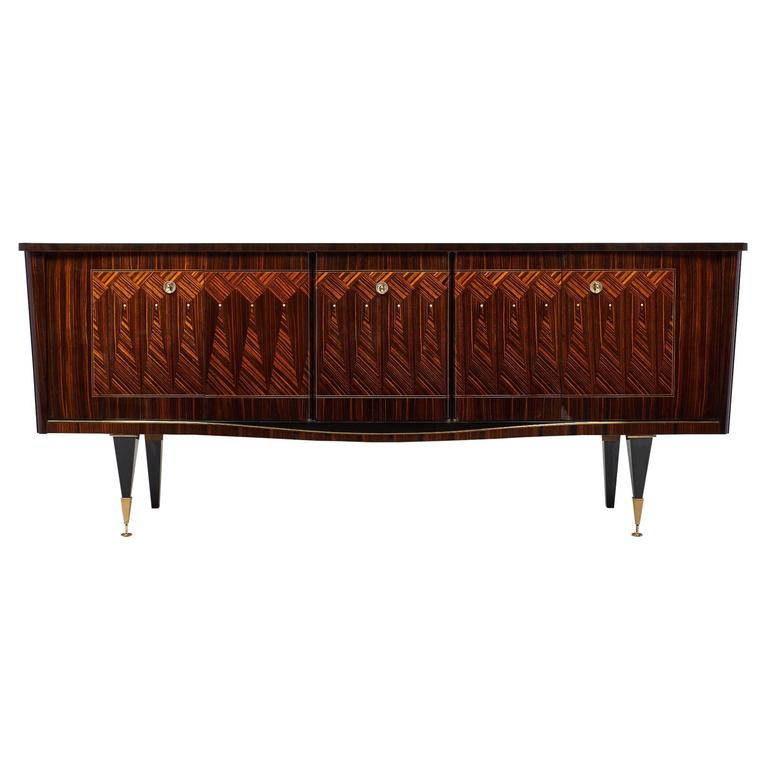 French Mid-Century Modern Vintage Macassar Buffet For Sale