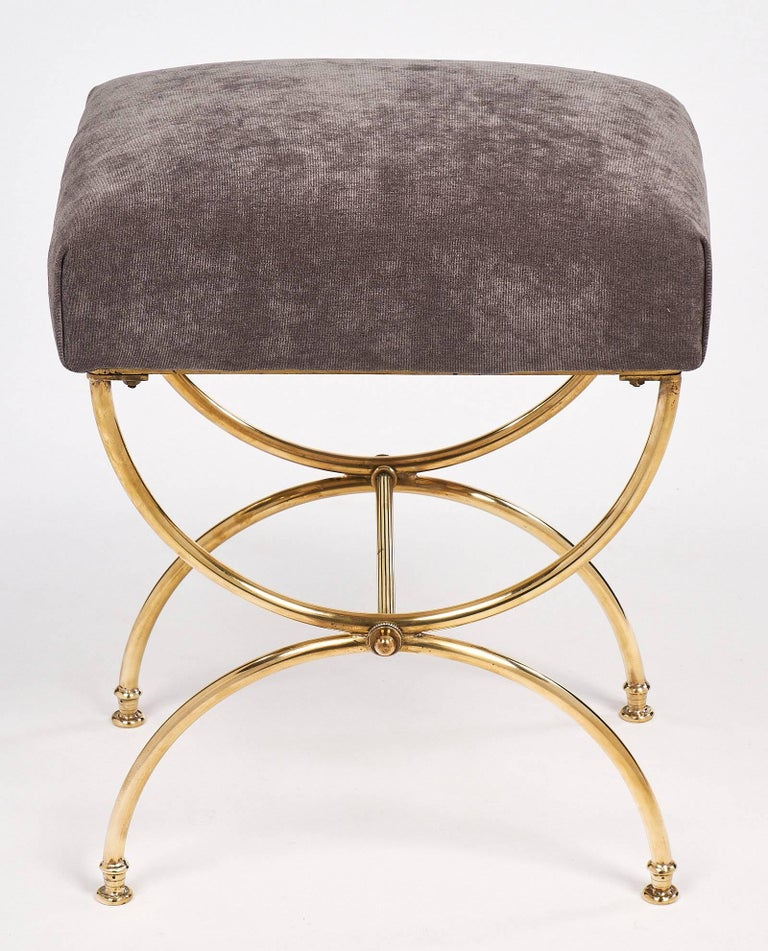 Mid Century Vintage French Brass Curule Stool At 1stdibs