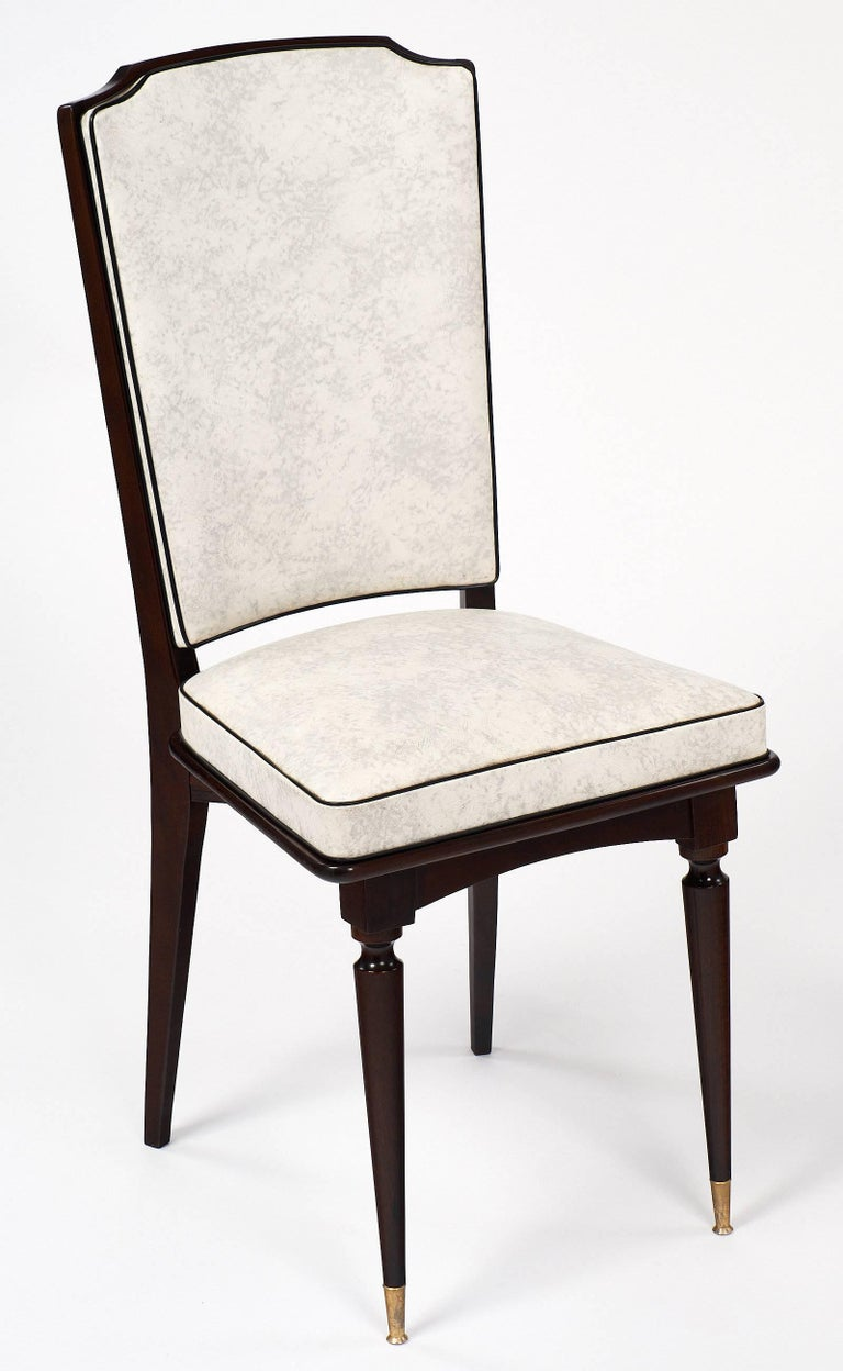 Set of Mahogany French Vintage Dining Chairs In Excellent Condition For Sale In Austin, TX