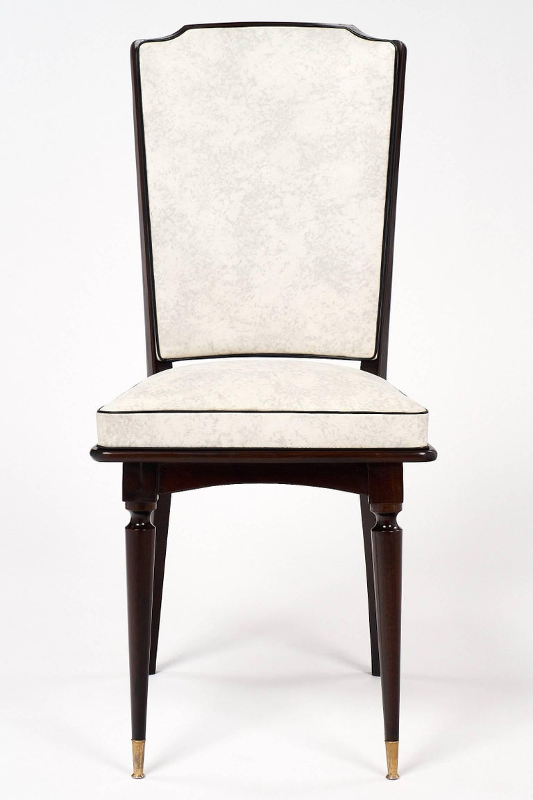Late 20th Century Set of Mahogany French Vintage Dining Chairs For Sale