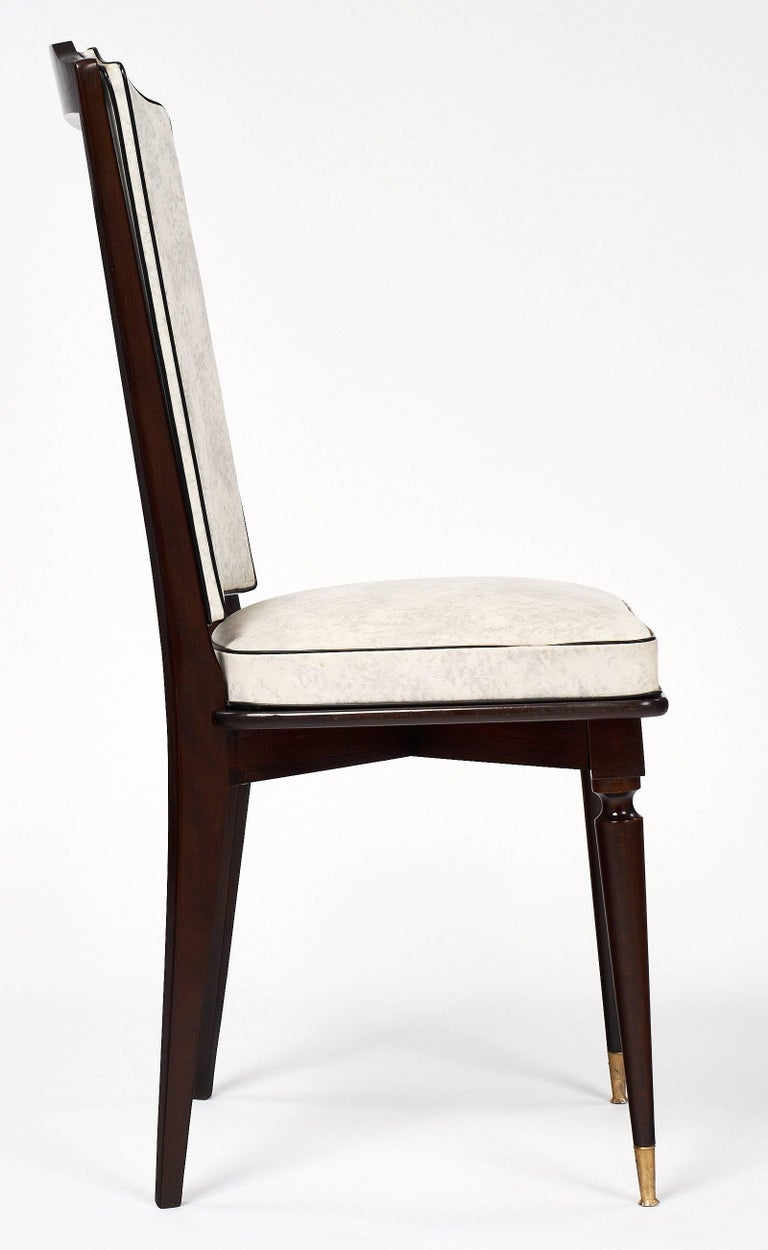 Set of Mahogany French Vintage Dining Chairs For Sale 3
