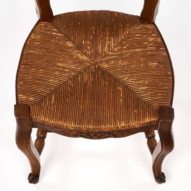 Late 19th Century Set of Wicker and Wood French Antique Dining Chairs For Sale