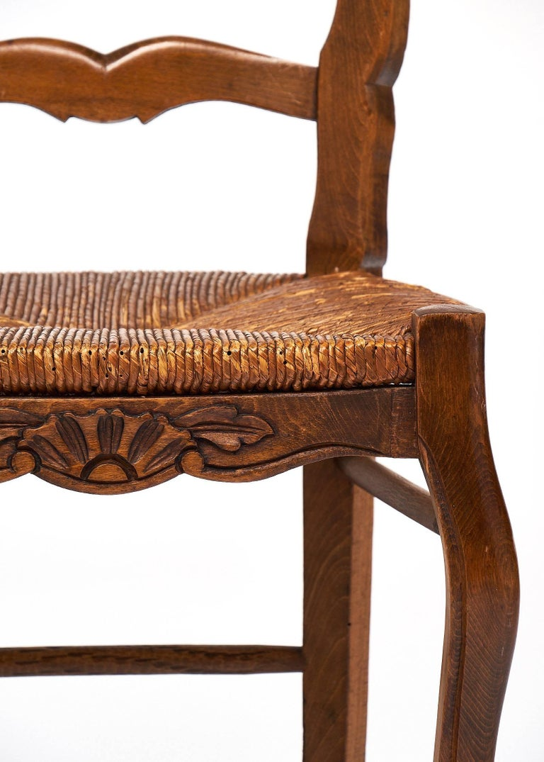 Set of Wicker and Wood French Antique Dining Chairs For Sale 1
