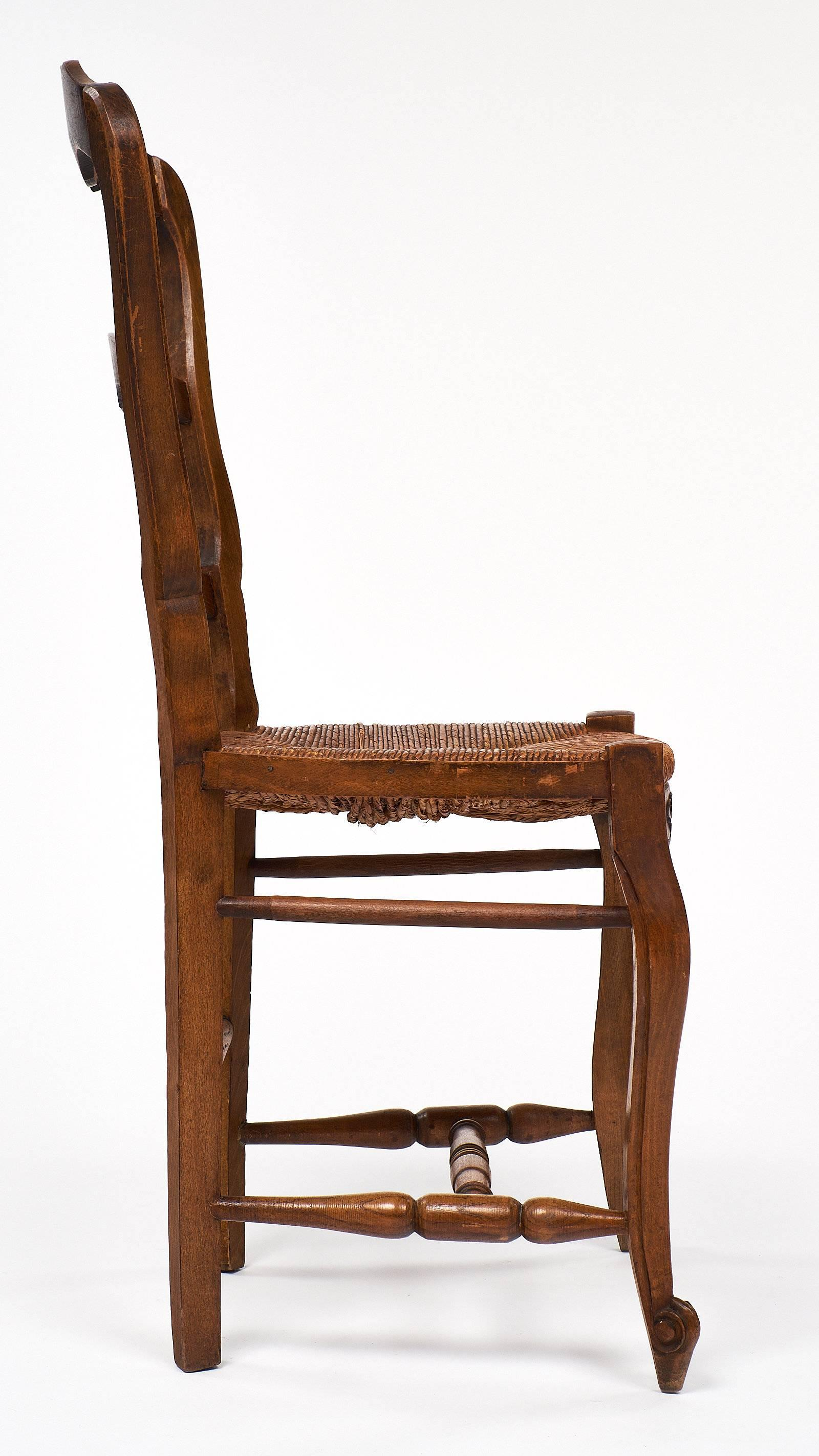 Set Of Wicker And Wood French Antique Dining Chairs For Sale 2