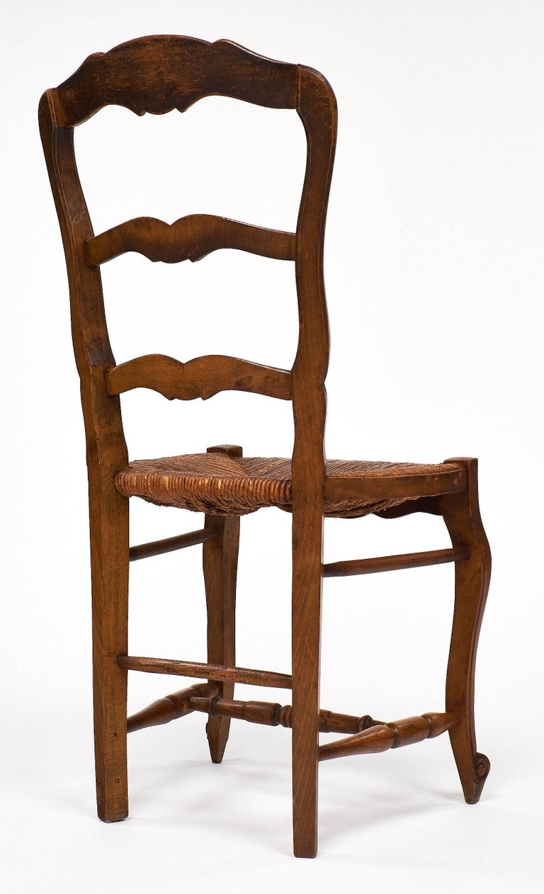 Set of Wicker and Wood French Antique Dining Chairs For Sale 3