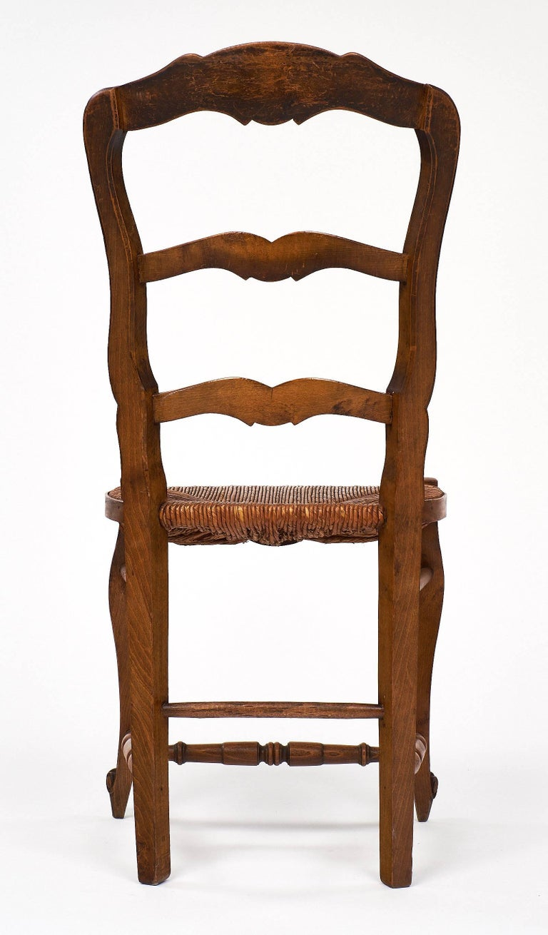 Set of Wicker and Wood French Antique Dining Chairs For Sale 4