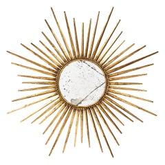 French Gilt Metal Vintage Sunburst Mirror