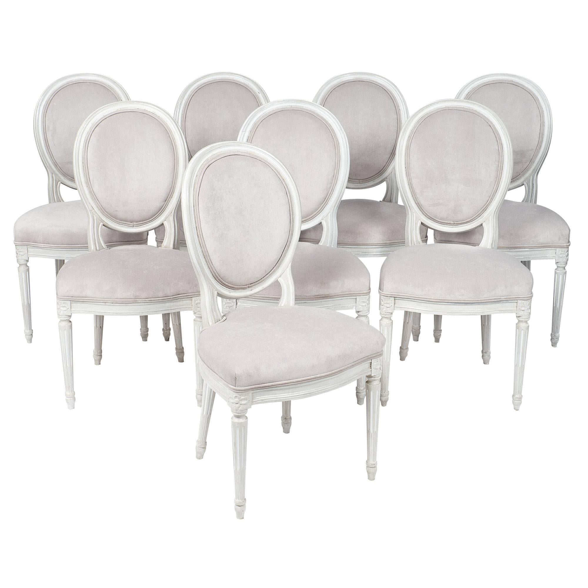 Louis XVI Style French Antique Medallion Back Chairs For Sale