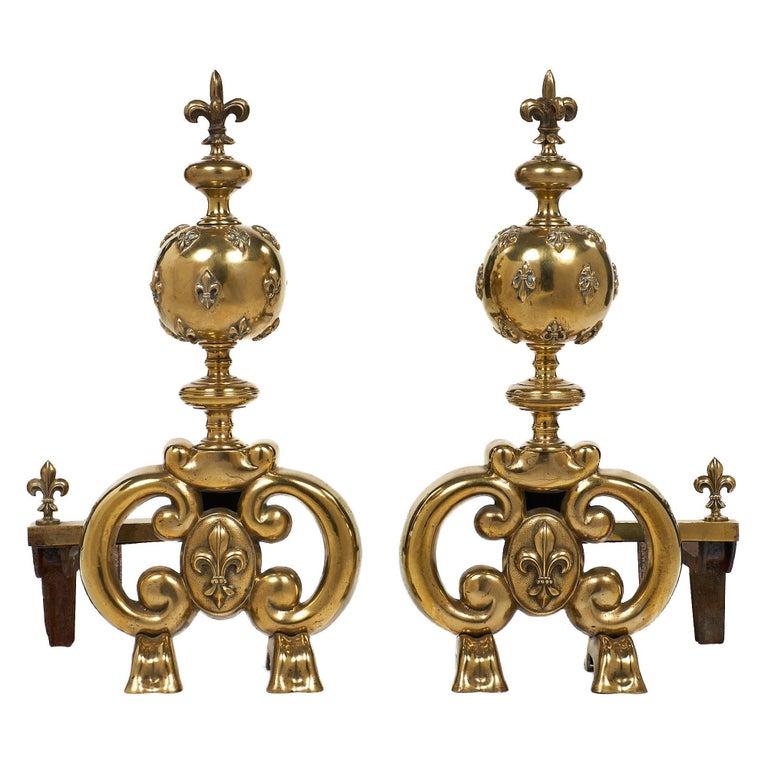 French Fleur-de-Lis Antique Andirons