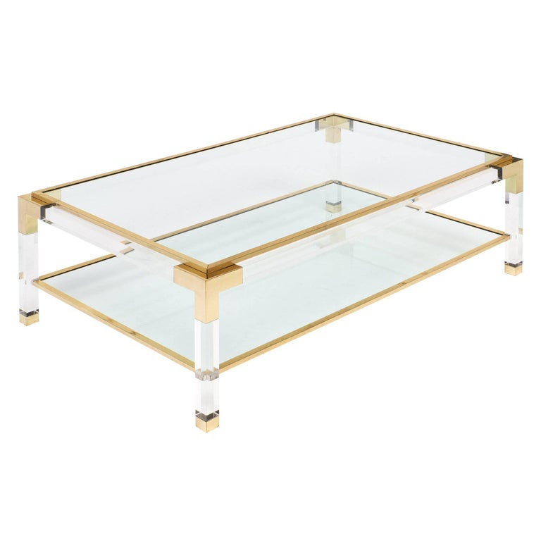French Lucite And Brass Coffee Table For Sale At 1stdibs