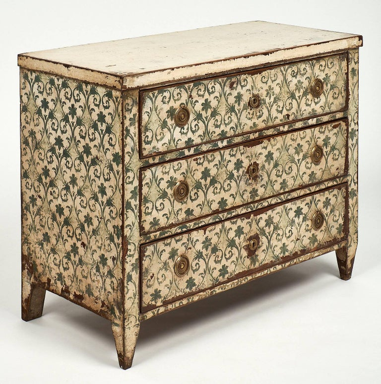 Spanish Colonial Antique Painted Spanish Chest For Sale