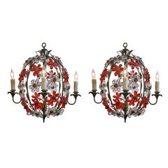 Pair of Vintage Cage Chandeliers
