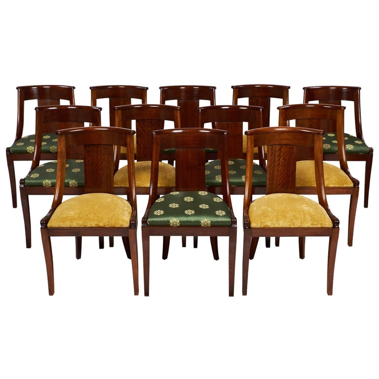 "French Empire Set of ""Gondole"" Chairs For Sale 5"
