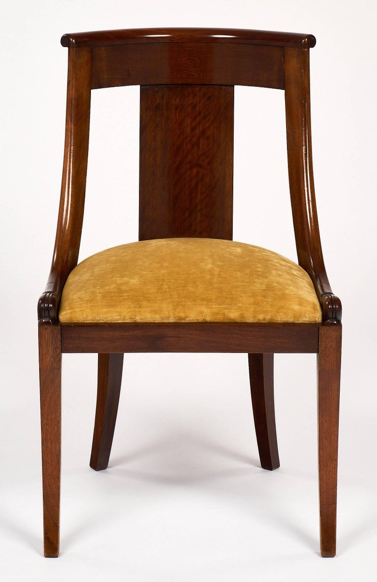 "Early 20th Century French Empire Set of ""Gondole"" Chairs For Sale"