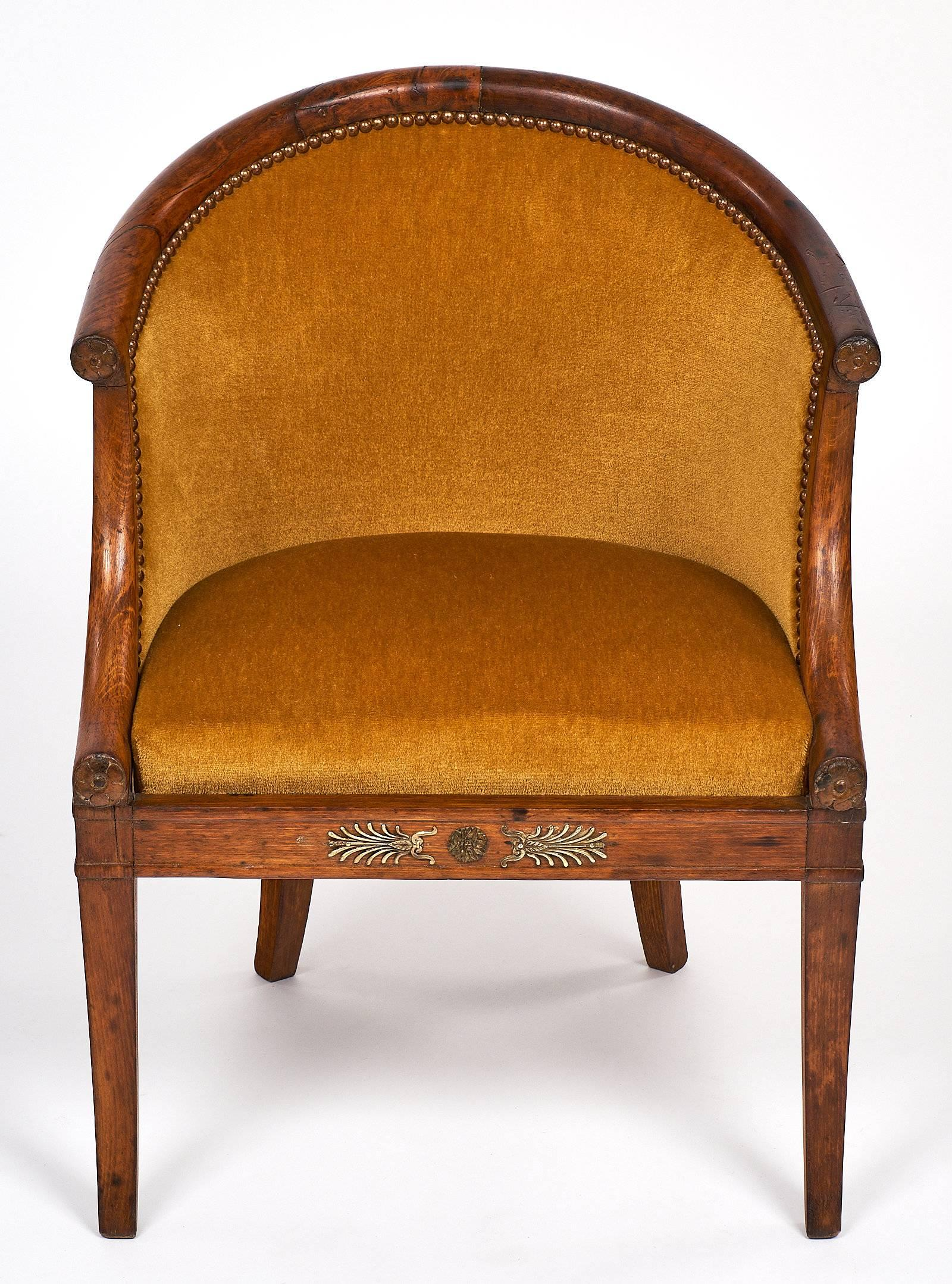 French Antique Empire Style Barrel Chairs At 1stdibs