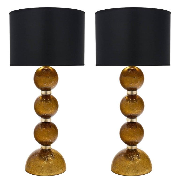 "Murano Glass Gold Leaf ""Pulegoso"" Lamps"