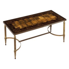 Art Deco Coffee Table with Églomisé Glass Top