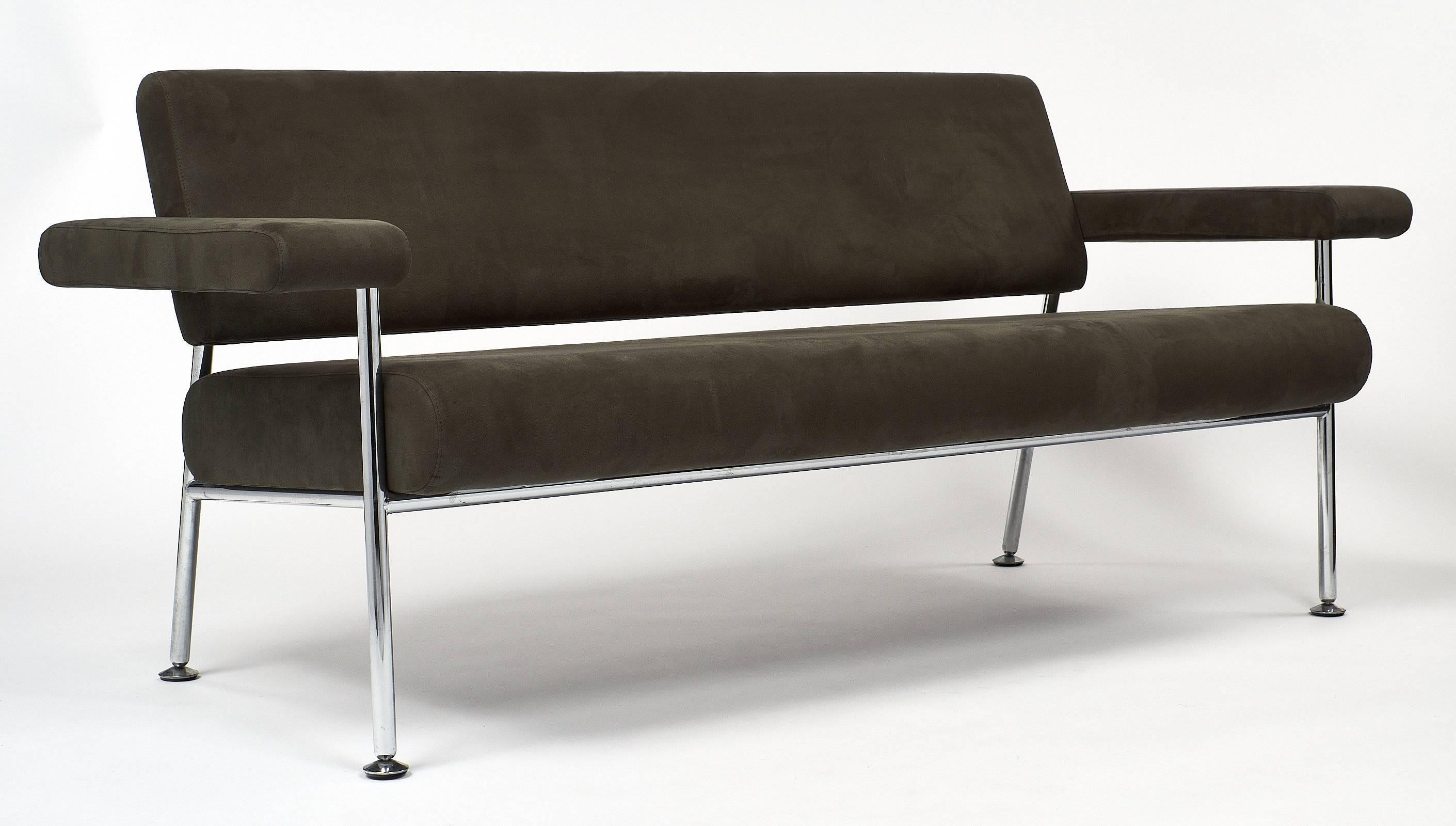 French Chrome And Ultrasuede Vintage Modernist Sofa For Sale