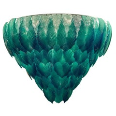 "Murano Glass Aqua ""Foglie"" Chandelier"
