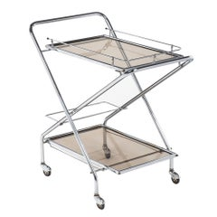 Folding French Vintage Chrome Bar Cart