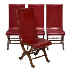 Set of Four Crimson Leather Valenti Chairs