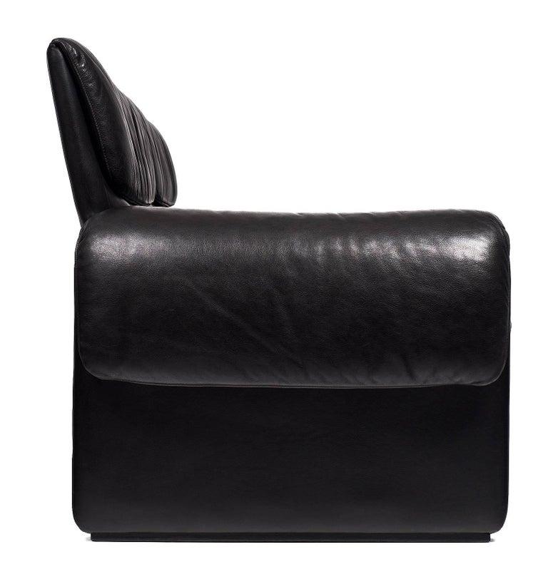 Black Leather Vintage de Sede Sofa For Sale 3