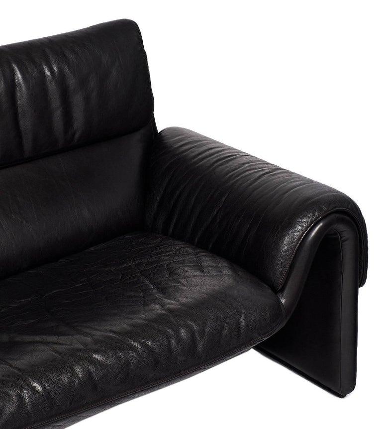 Swiss Black Leather Vintage de Sede Sofa For Sale