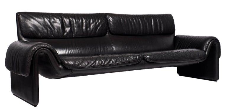 Modern Black Leather Vintage de Sede Sofa For Sale