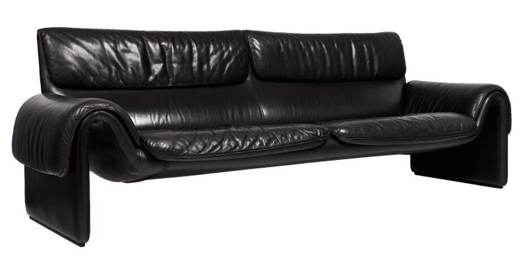 Black Leather Vintage de Sede Sofa 3
