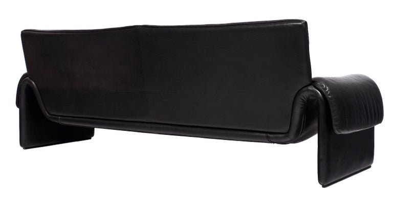 Black Leather Vintage de Sede Sofa For Sale 4