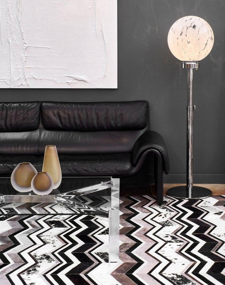 Black Leather Vintage de Sede Sofa 2